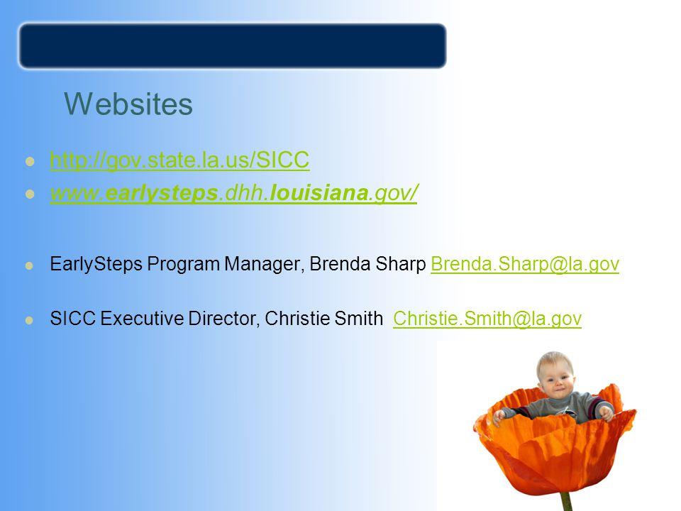 Websites http://gov.state.la.us/SICC www.earlysteps.dhh.louisiana.gov/