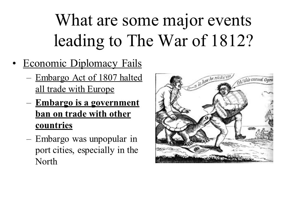 What are some major events leading to The War of 1812