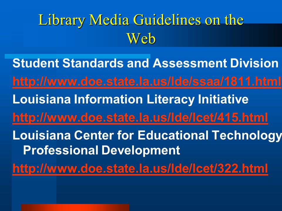 Library Media Guidelines on the Web
