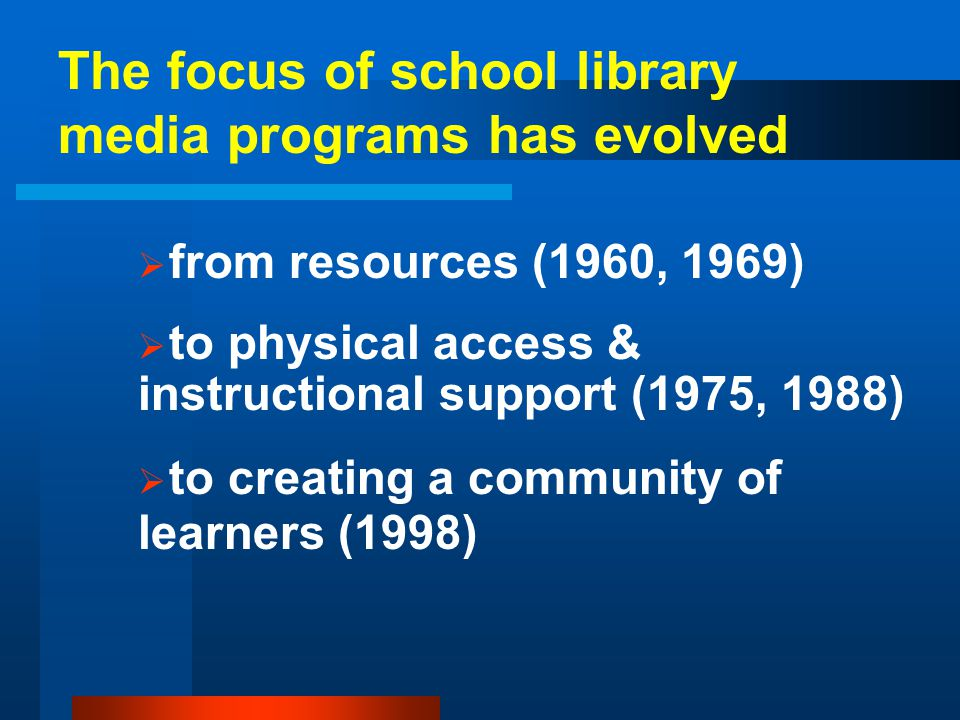 The focus of school library media programs has evolved
