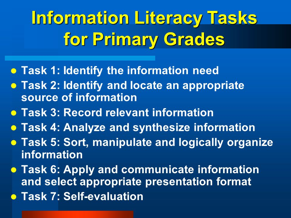 Information Literacy Tasks for Primary Grades