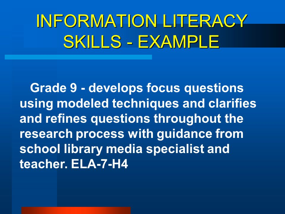 INFORMATION LITERACY SKILLS - EXAMPLE