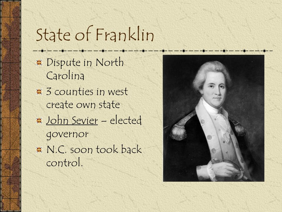 State of Franklin Dispute in North Carolina