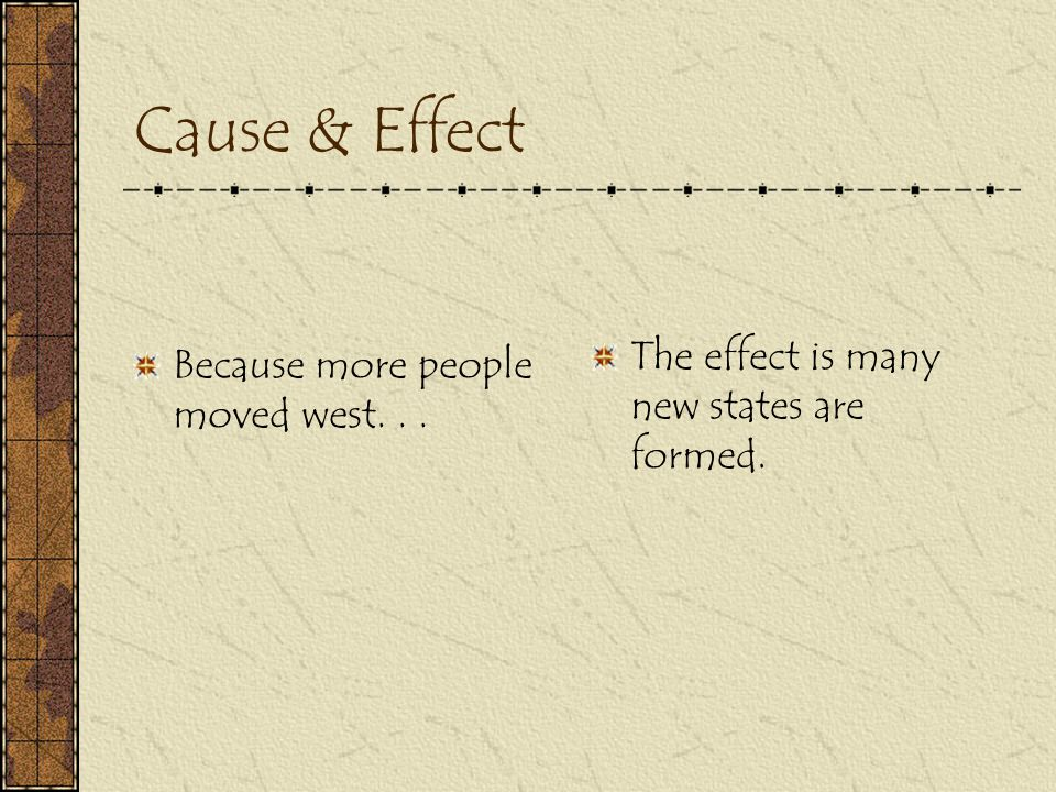 Cause & Effect The effect is many new states are formed.