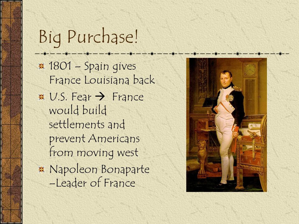 Big Purchase! 1801 – Spain gives France Louisiana back