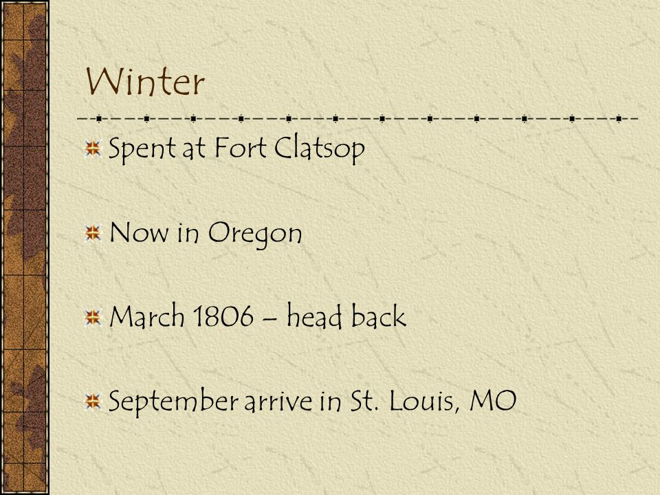 Winter Spent at Fort Clatsop Now in Oregon March 1806 – head back