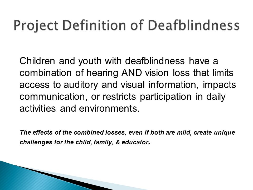 Project Definition of Deafblindness