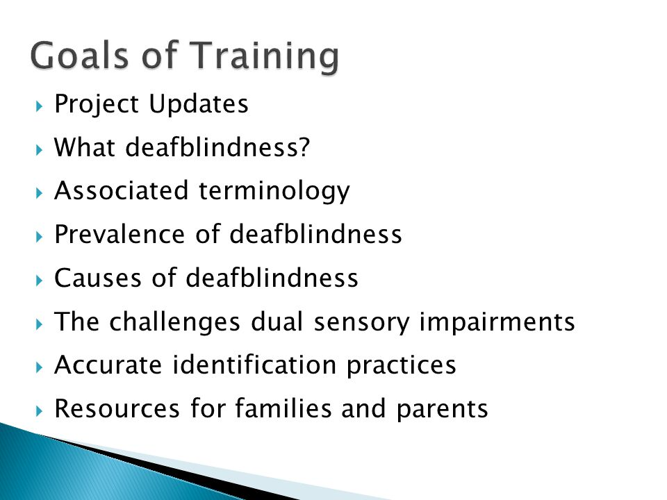 Goals of Training Project Updates What deafblindness
