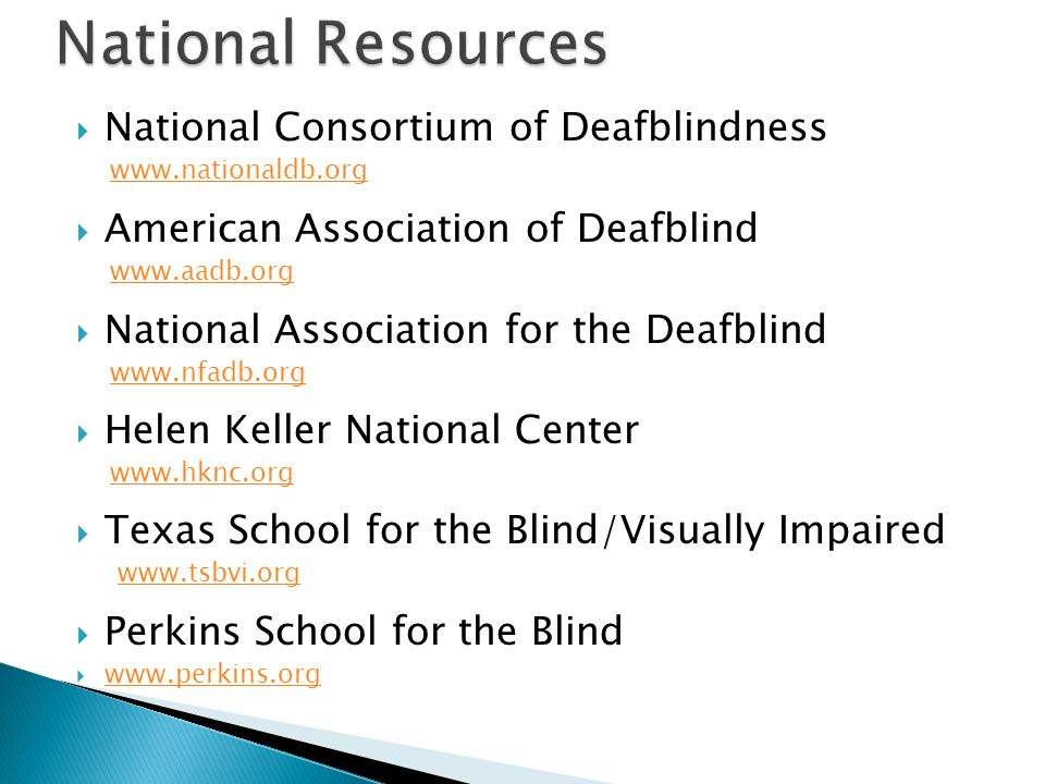 National Resources National Consortium of Deafblindness