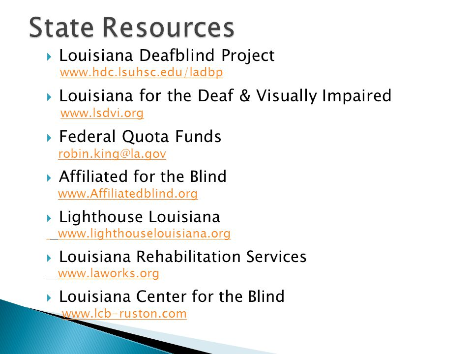 State Resources Louisiana Deafblind Project
