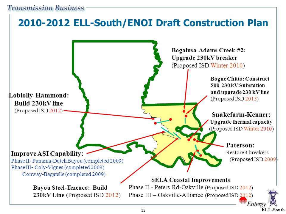 2010-2012 ELL-South/ENOI Draft Construction Plan