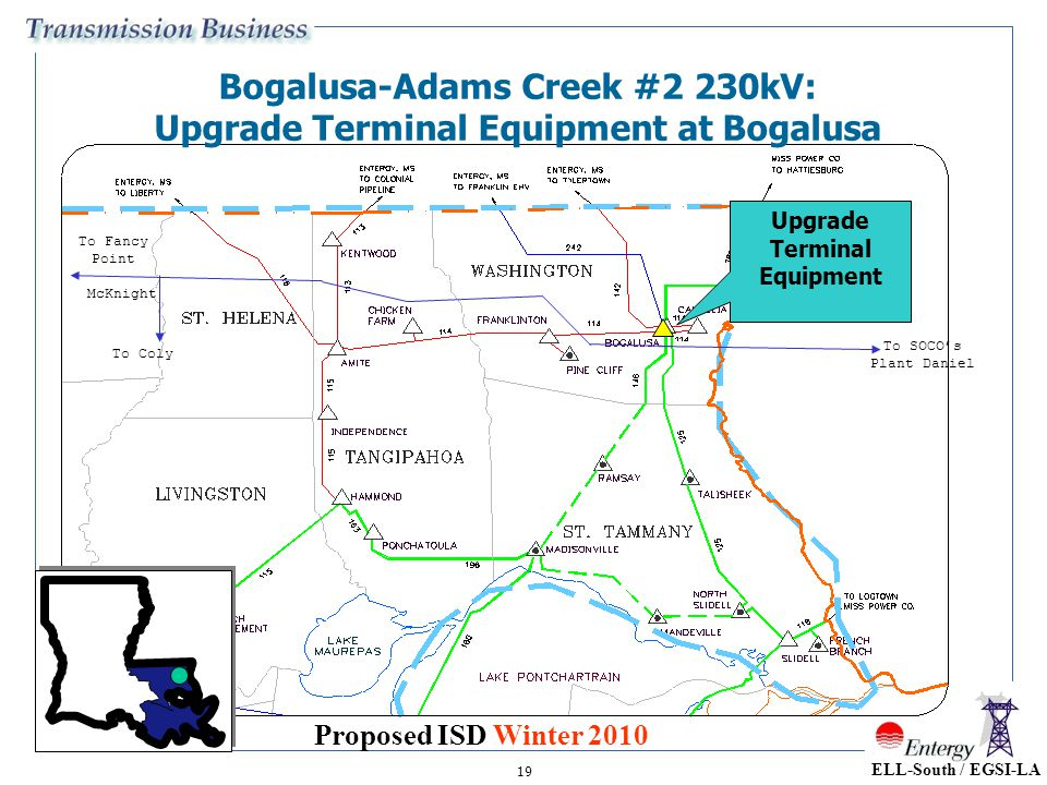 Bogalusa-Adams Creek #2 230kV: Upgrade Terminal Equipment at Bogalusa