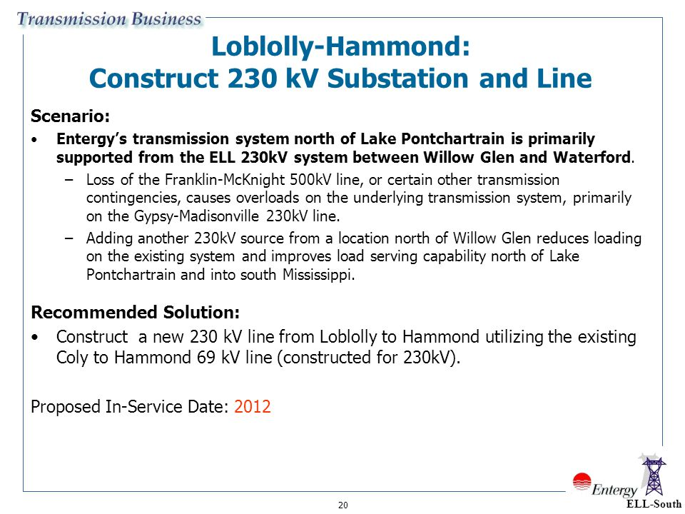 Loblolly-Hammond: Construct 230 kV Substation and Line