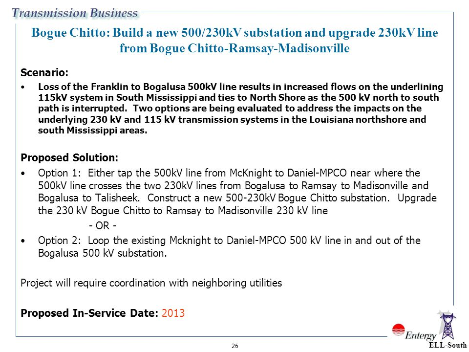 Bogue Chitto: Build a new 500/230kV substation and upgrade 230kV line from Bogue Chitto-Ramsay-Madisonville