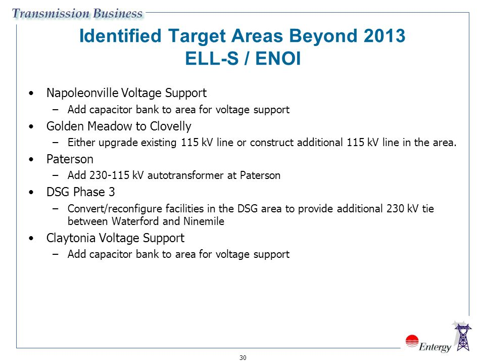 Identified Target Areas Beyond 2013 ELL-S / ENOI