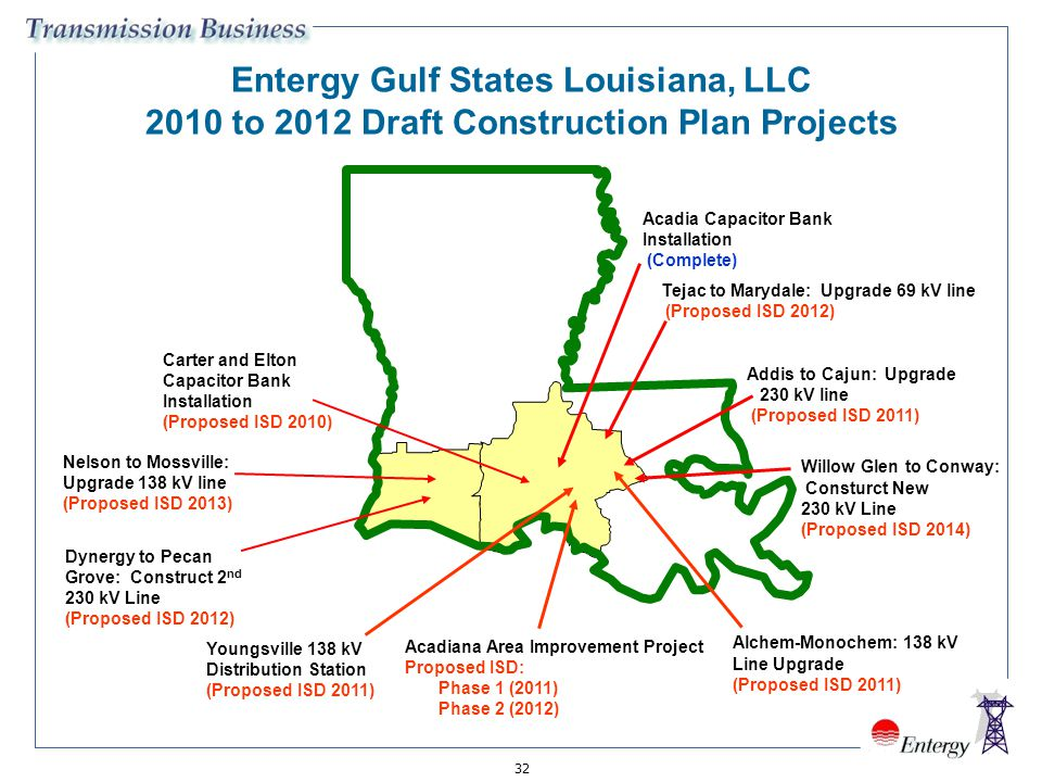 Entergy Gulf States Louisiana, LLC 2010 to 2012 Draft Construction Plan Projects