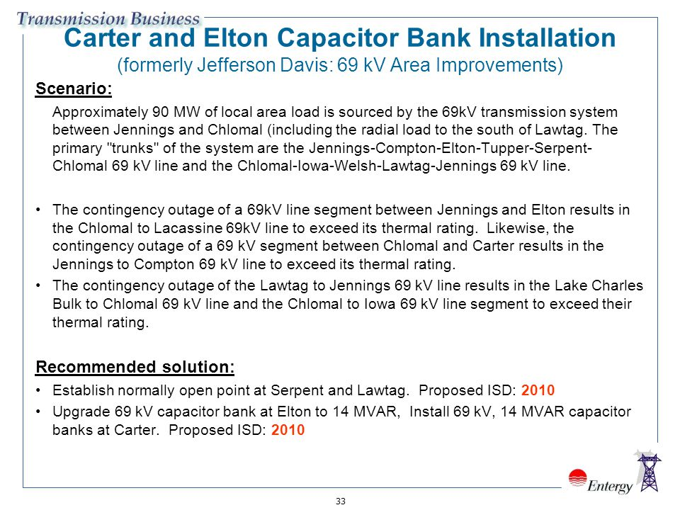 Carter and Elton Capacitor Bank Installation (formerly Jefferson Davis: 69 kV Area Improvements)