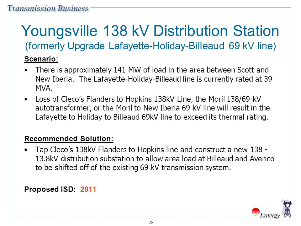 Youngsville 138 kV Distribution Station (formerly Upgrade Lafayette-Holiday-Billeaud 69 kV line)