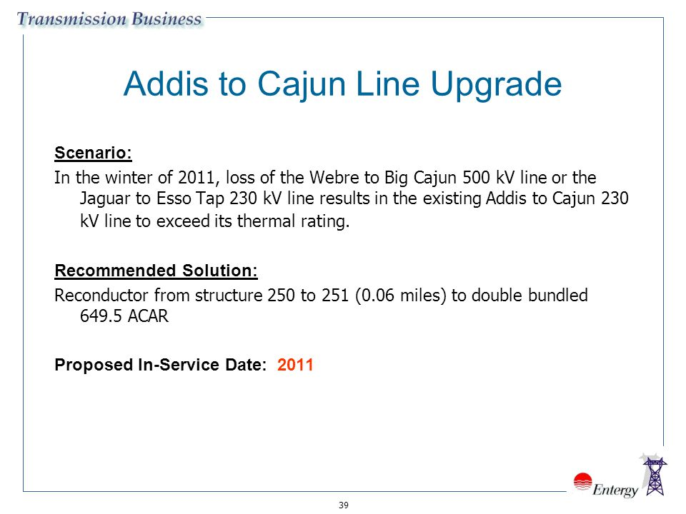 Addis to Cajun Line Upgrade