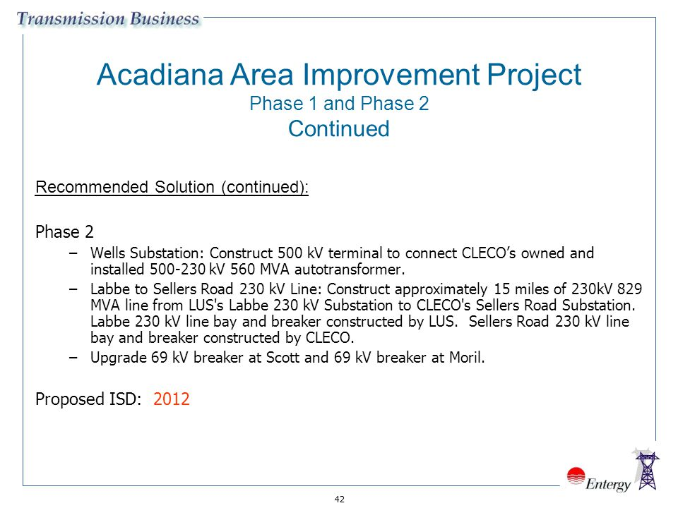 Acadiana Area Improvement Project Phase 1 and Phase 2 Continued