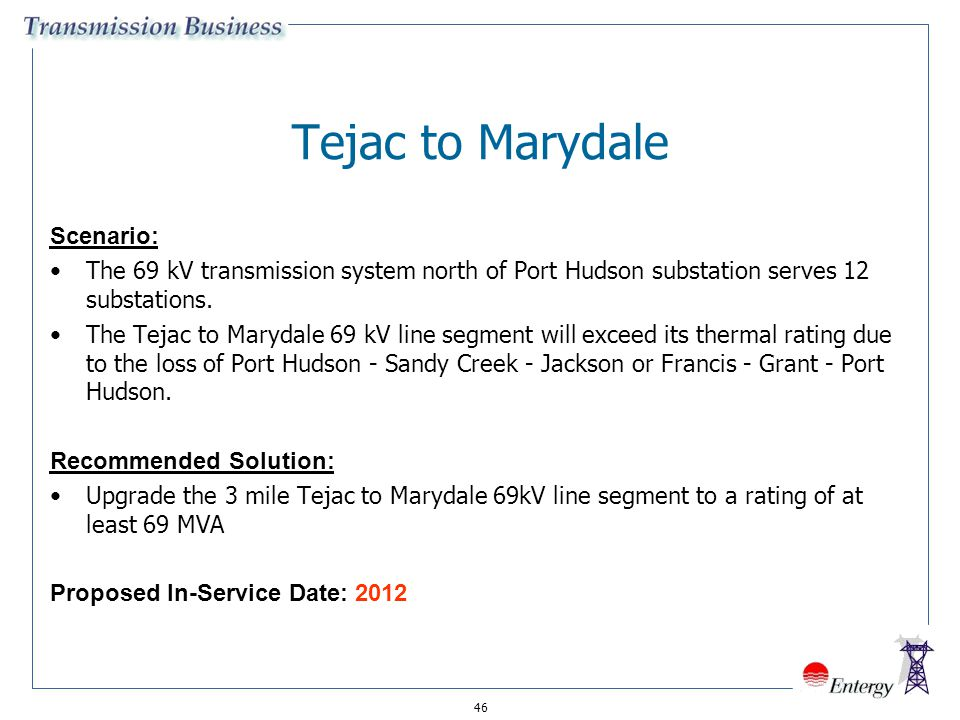 Tejac to Marydale Scenario: