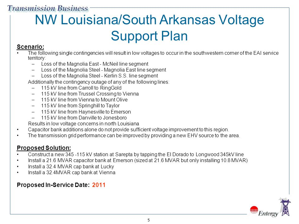 NW Louisiana/South Arkansas Voltage Support Plan