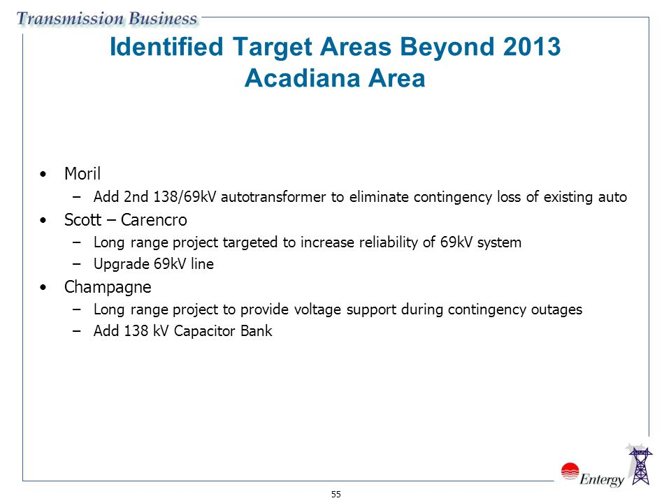 Identified Target Areas Beyond 2013 Acadiana Area