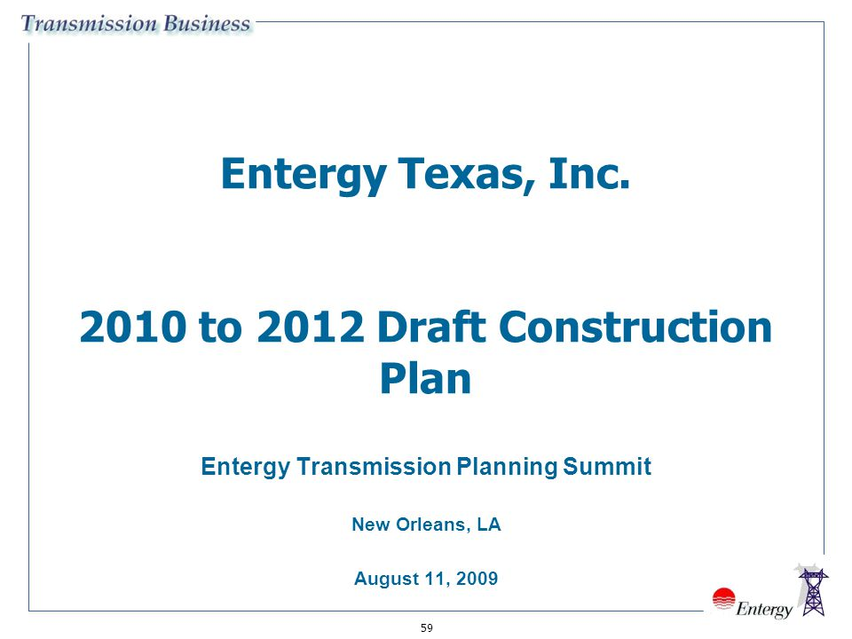Entergy Texas, Inc. 2010 to 2012 Draft Construction Plan