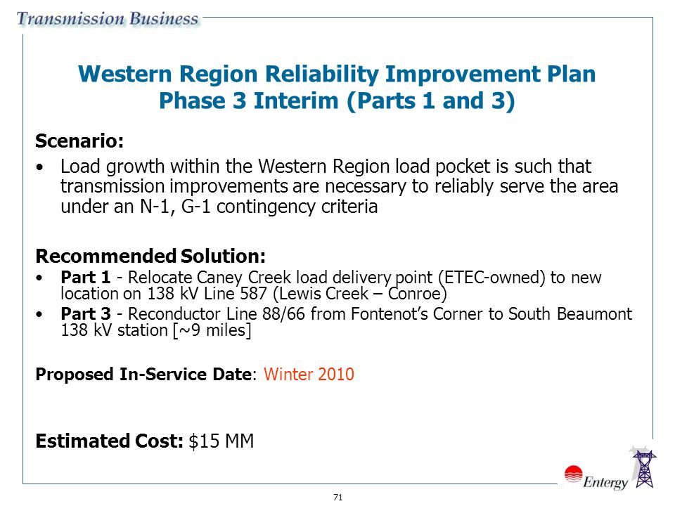 Western Region Reliability Improvement Plan Phase 3 Interim (Parts 1 and 3)