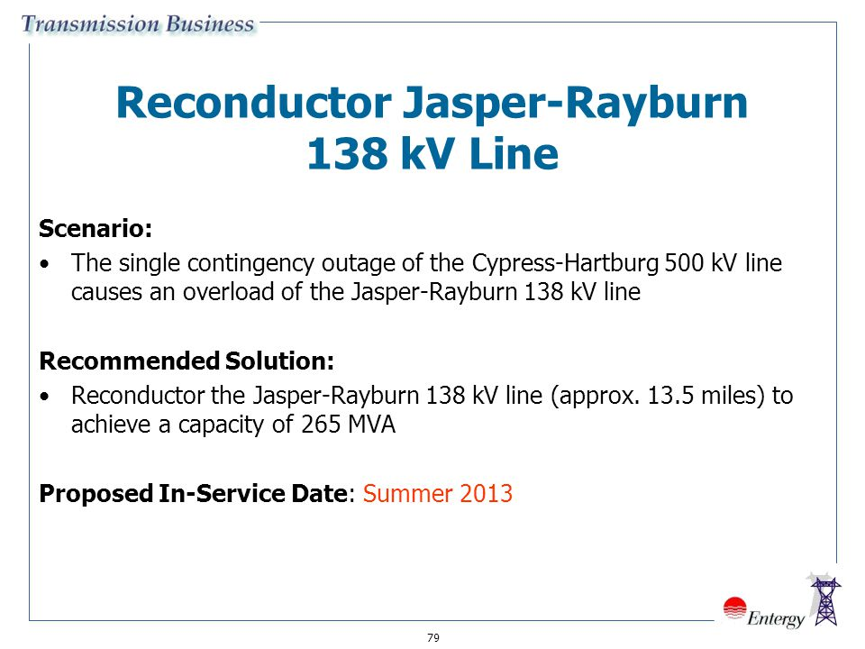 Reconductor Jasper-Rayburn 138 kV Line