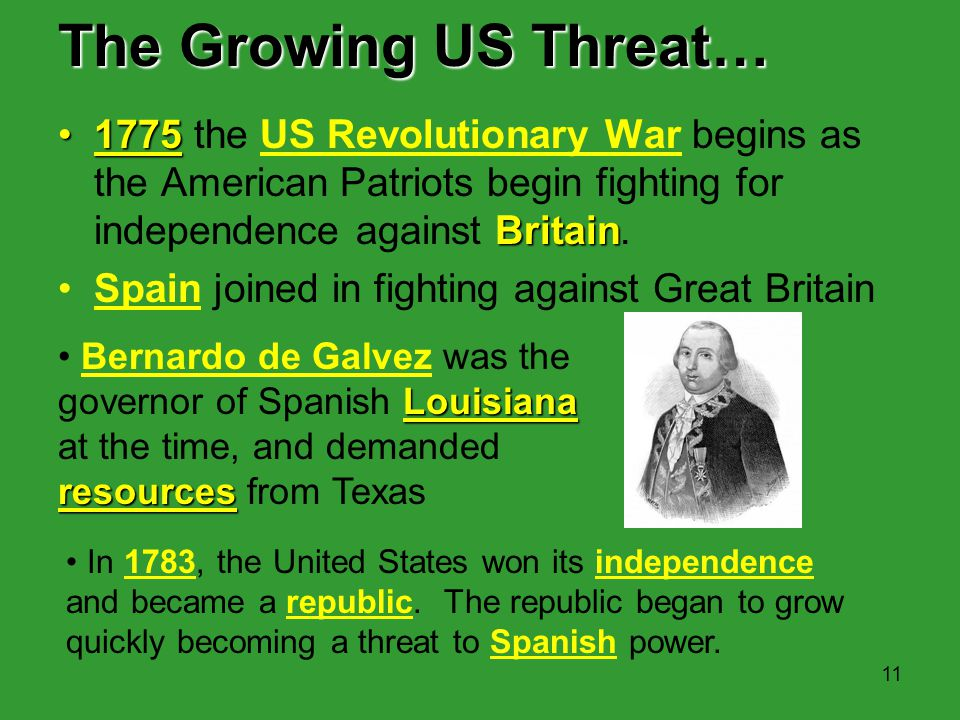The Growing US Threat… 1775 the US Revolutionary War begins as the American Patriots begin fighting for independence against Britain.