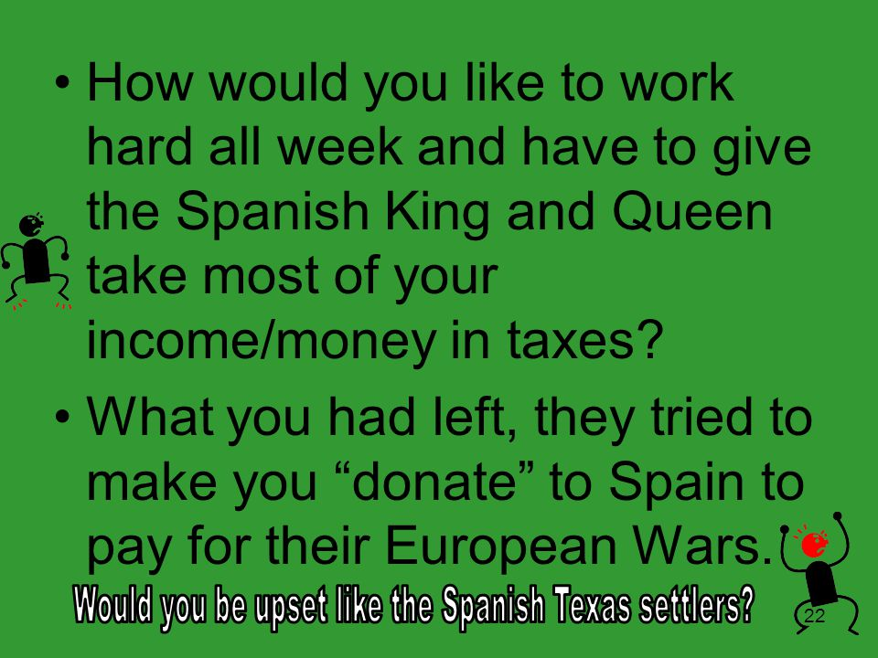 Would you be upset like the Spanish Texas settlers