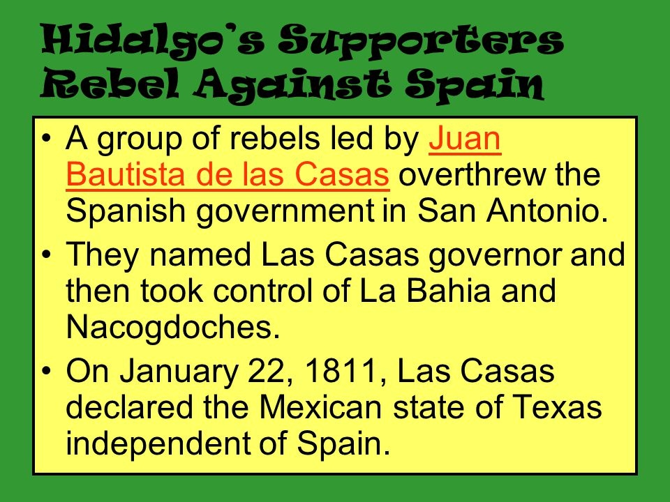 Hidalgo's Supporters Rebel Against Spain