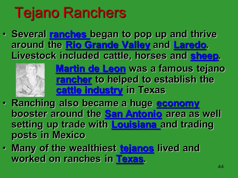 Tejano Ranchers Several ranches began to pop up and thrive around the Rio Grande Valley and Laredo. Livestock included cattle, horses and sheep.