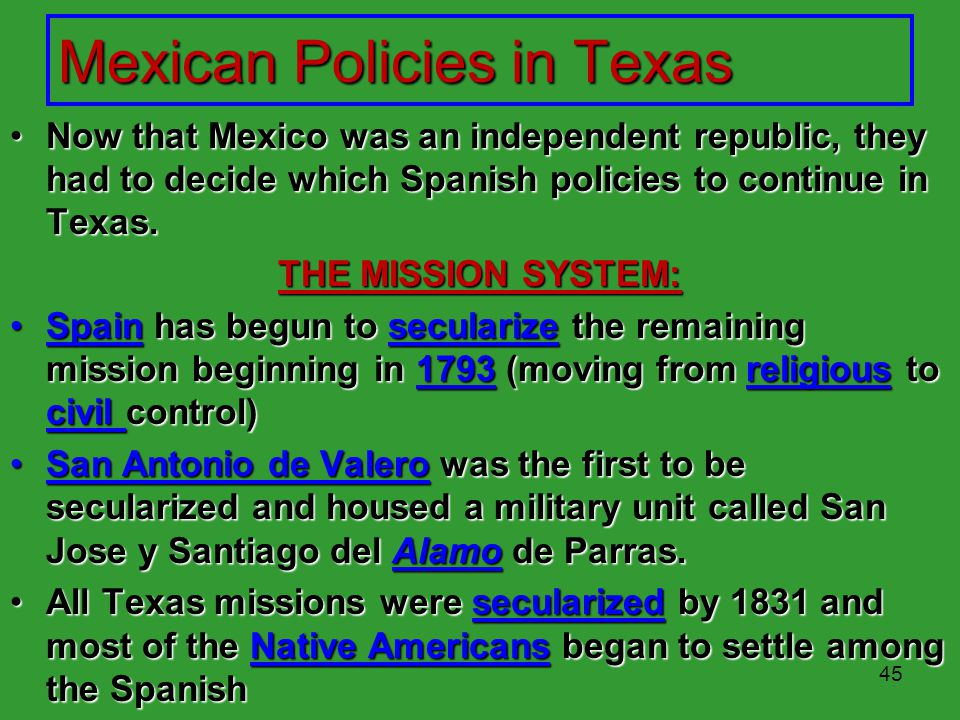 Mexican Policies in Texas