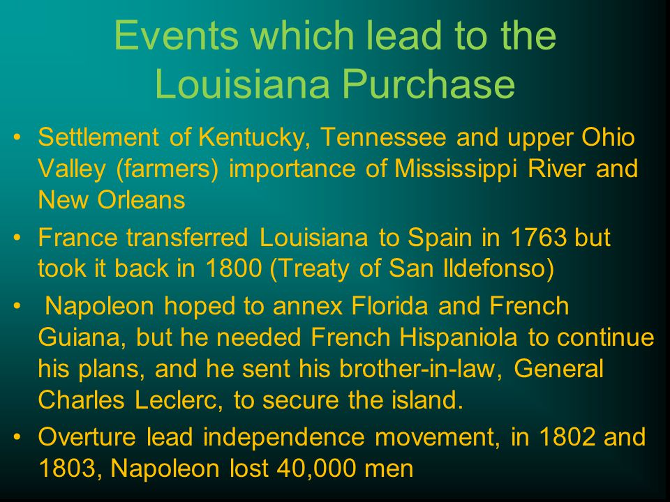 Events which lead to the Louisiana Purchase
