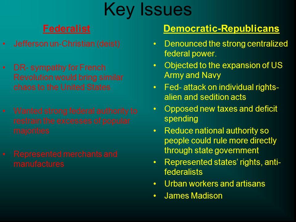 Key Issues Democratic-Republicans Federalist