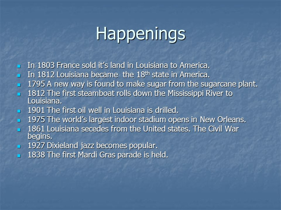 Happenings In 1803 France sold it's land in Louisiana to America.