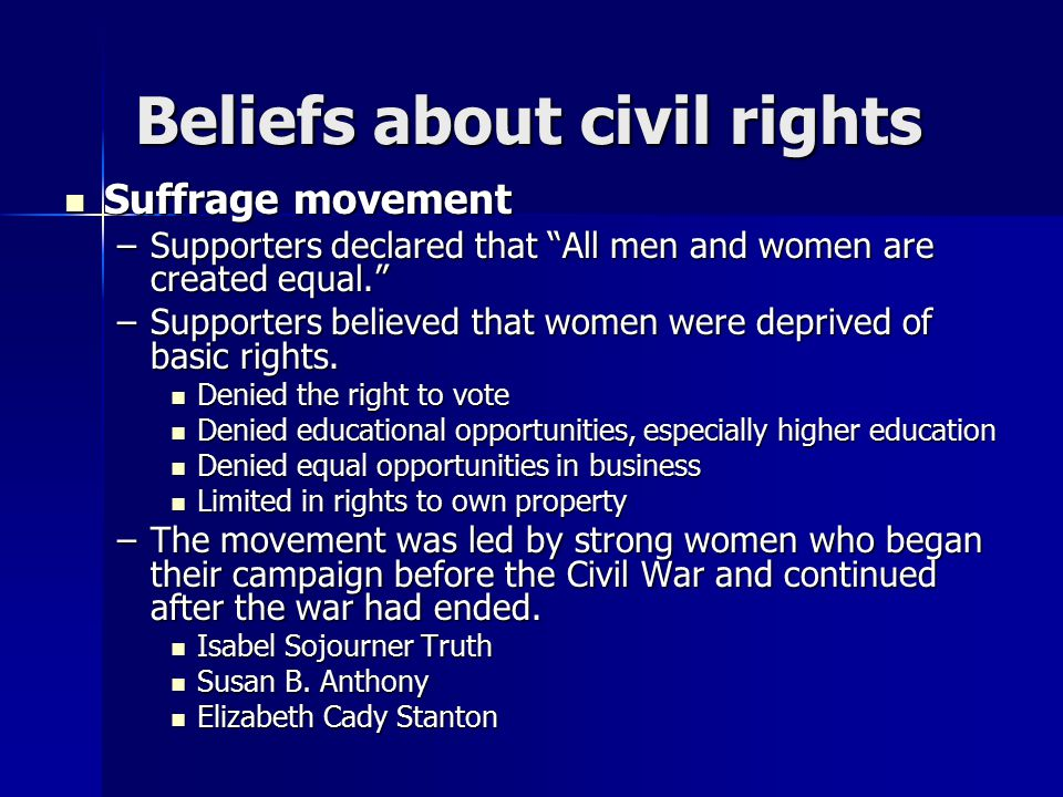 Beliefs about civil rights