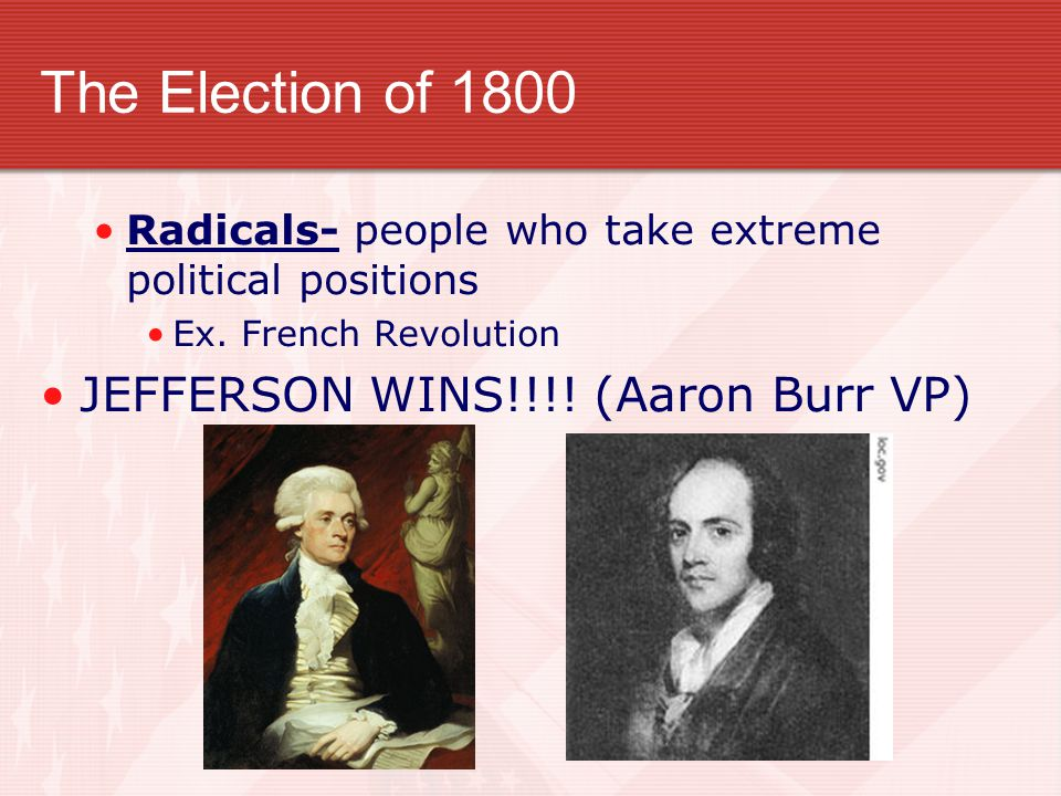 The Election of 1800 JEFFERSON WINS!!!! (Aaron Burr VP)