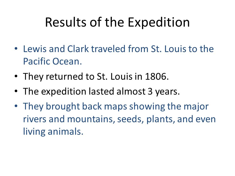 Results of the Expedition