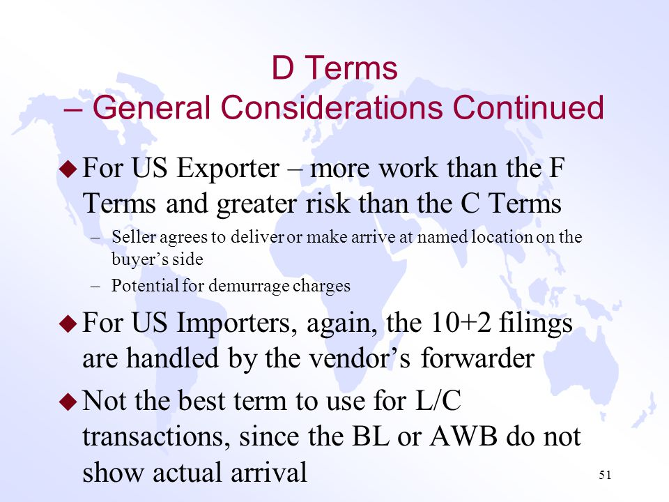 D Terms – General Considerations Continued