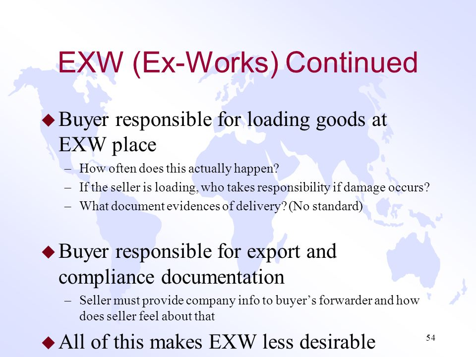 EXW (Ex-Works) Continued