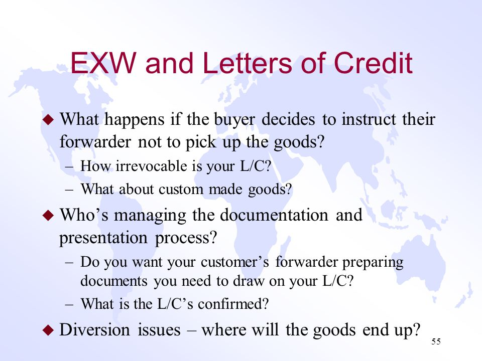 EXW and Letters of Credit
