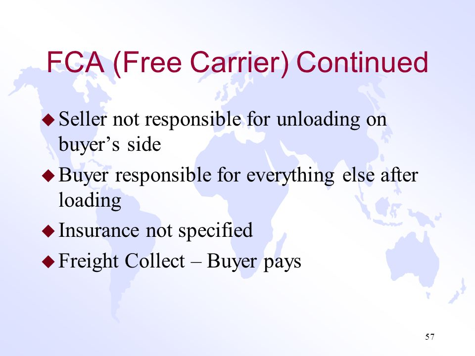 FCA (Free Carrier) Continued