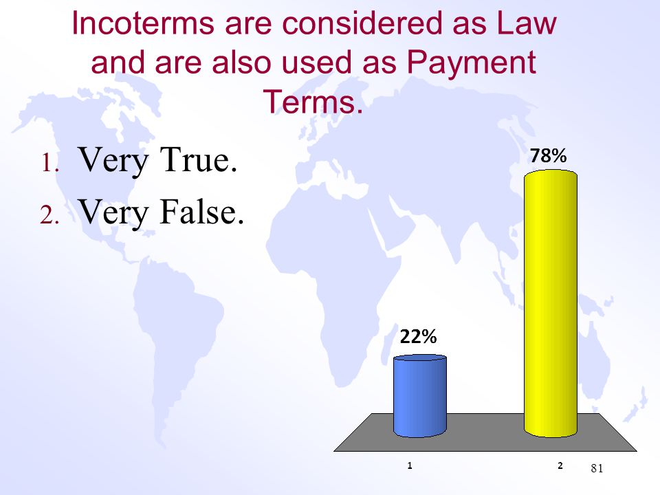 Incoterms are considered as Law and are also used as Payment Terms.