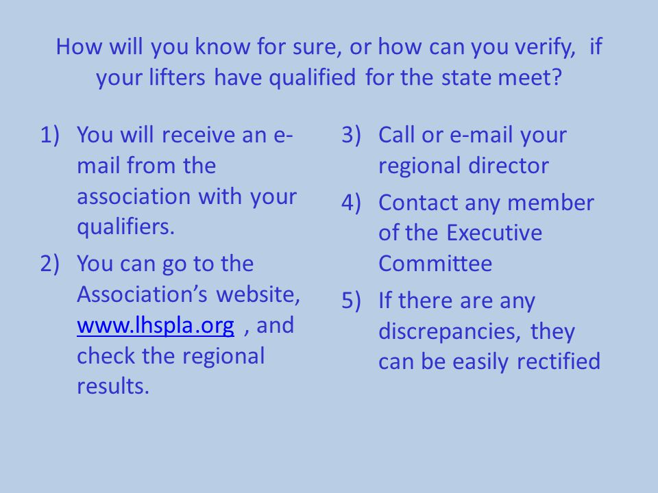 How will you know for sure, or how can you verify, if your lifters have qualified for the state meet