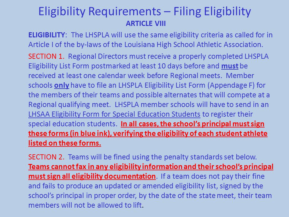 Eligibility Requirements – Filing Eligibility