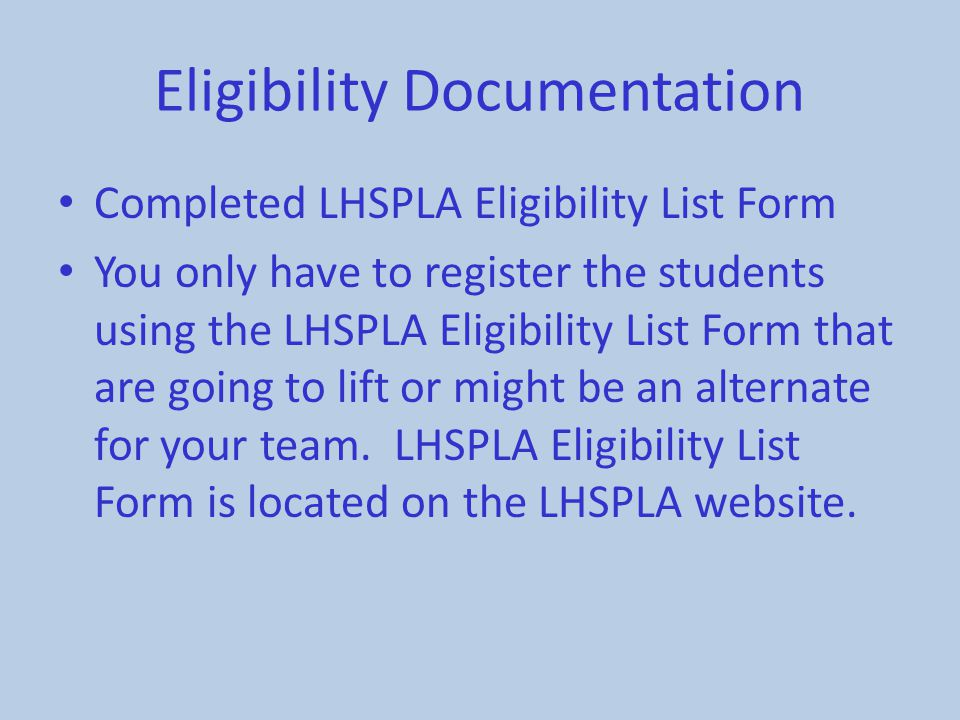 Eligibility Documentation