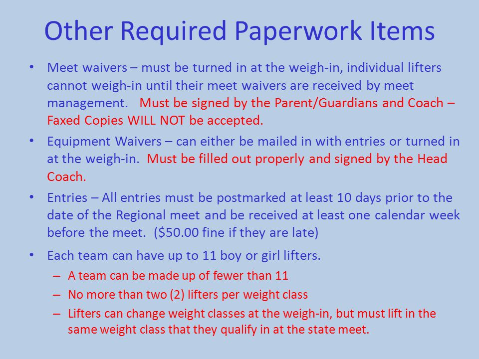 Other Required Paperwork Items
